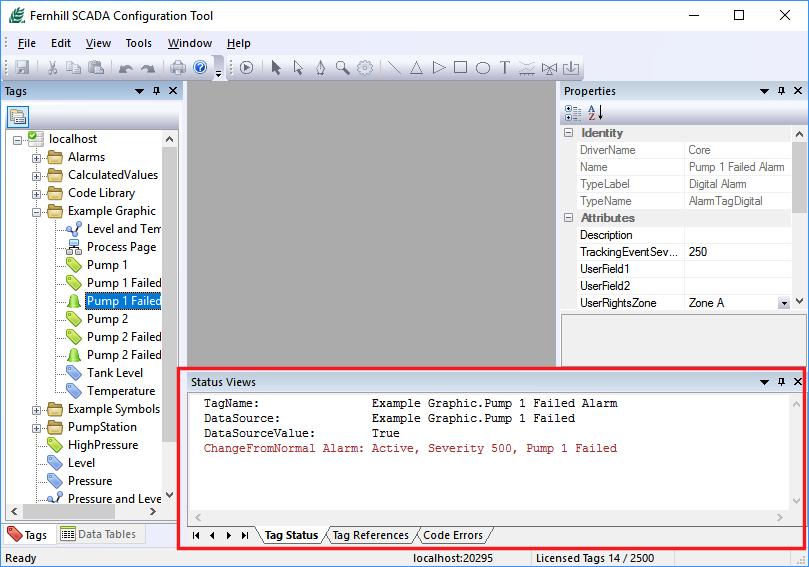 Fernhill SCADA Configuration Tool Status Views Window