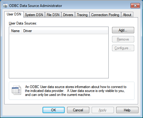 Setting up a 32-bit ODBC System DSN on 64-bit Windows