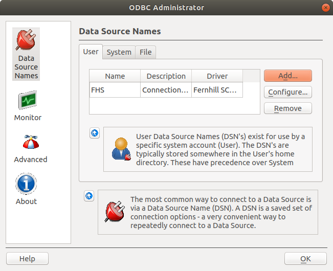Setting up an ODBC User Data Source Name (DSN)